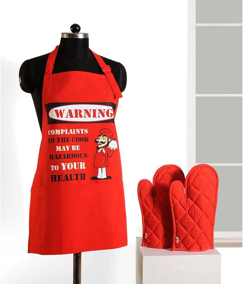 Swayam Grillz Red 3Pcs Apron Set - 1 Apron & 2 Oven Gloves