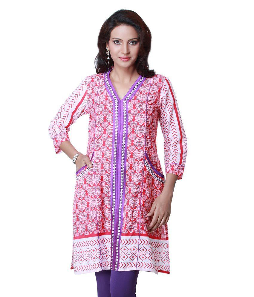 Ark Pink Printed Cotton 3/4th Sleeves Medium  Kurti