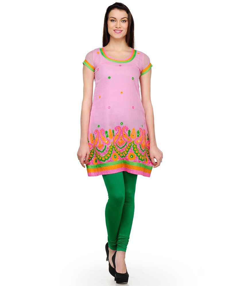 Aujjessa Pink Embroidered Cotton Silk Half Medium  Kurti