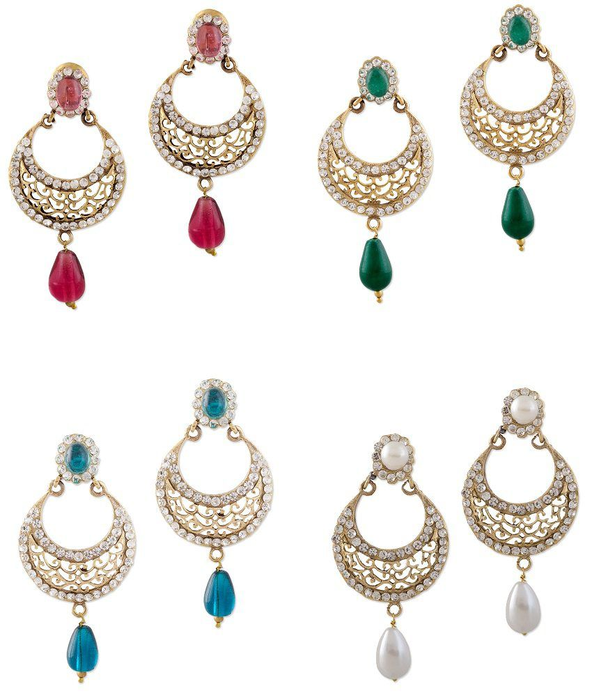 Bazarvilla 4 pair fashion jewelry traditional earring set for New top jewelry nyc prices