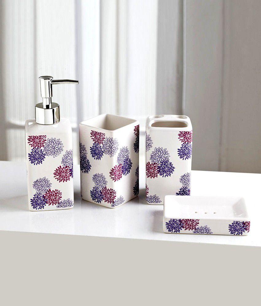 Nilkamal PVC Bath Sets (With Floral Print)