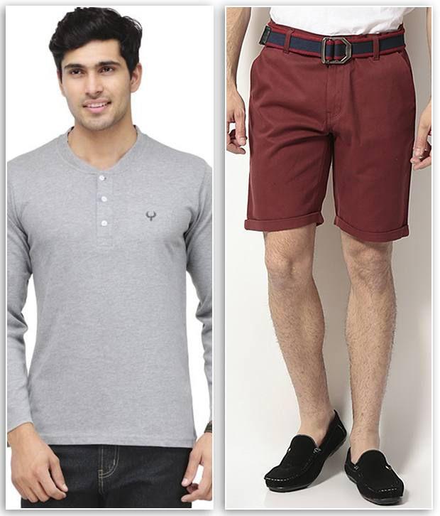 Phoenix Combo Of 1 Grey Henley T Shirt & 1 Maroon Cotton Solid Shorts