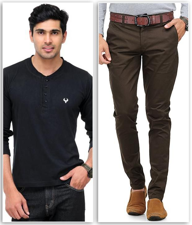 Phoenix Smart Combo Of 1 Black Henley T Shirt And 1 Brown Slim Fit Chinos
