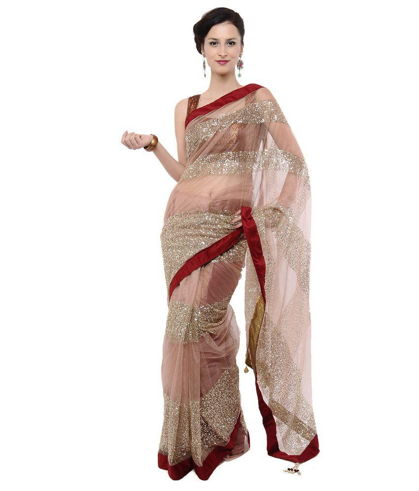 Jahnavi Creation Beige Embroidered Net Saree
