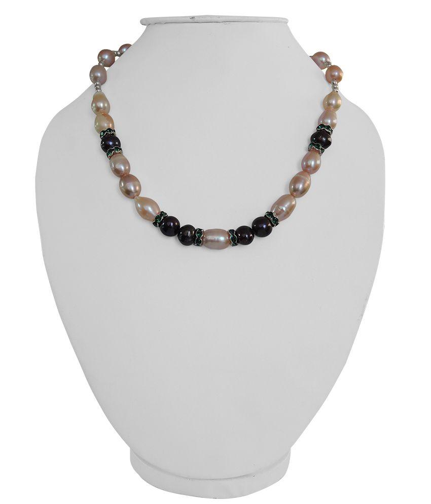 Pearlz Ocean Orange Freashwater Pearl 18 Inch Necklace