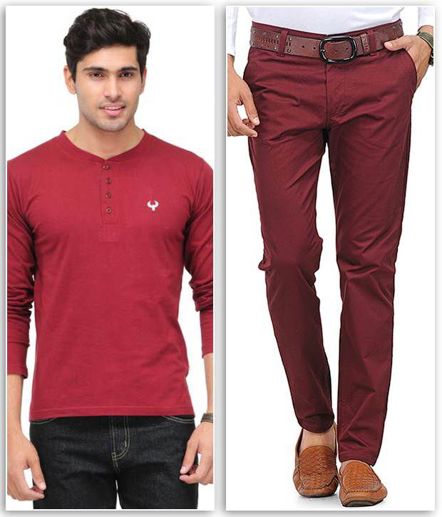 Phoenix Combo Of 1 Maroon Henley T Shirt And 1 Maroon Slim Fit Chinos