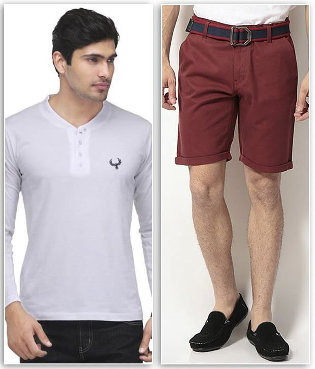 Phoenix Combo Of 1 White Henley T Shirt & 1 Maroon Cotton Solid Shorts