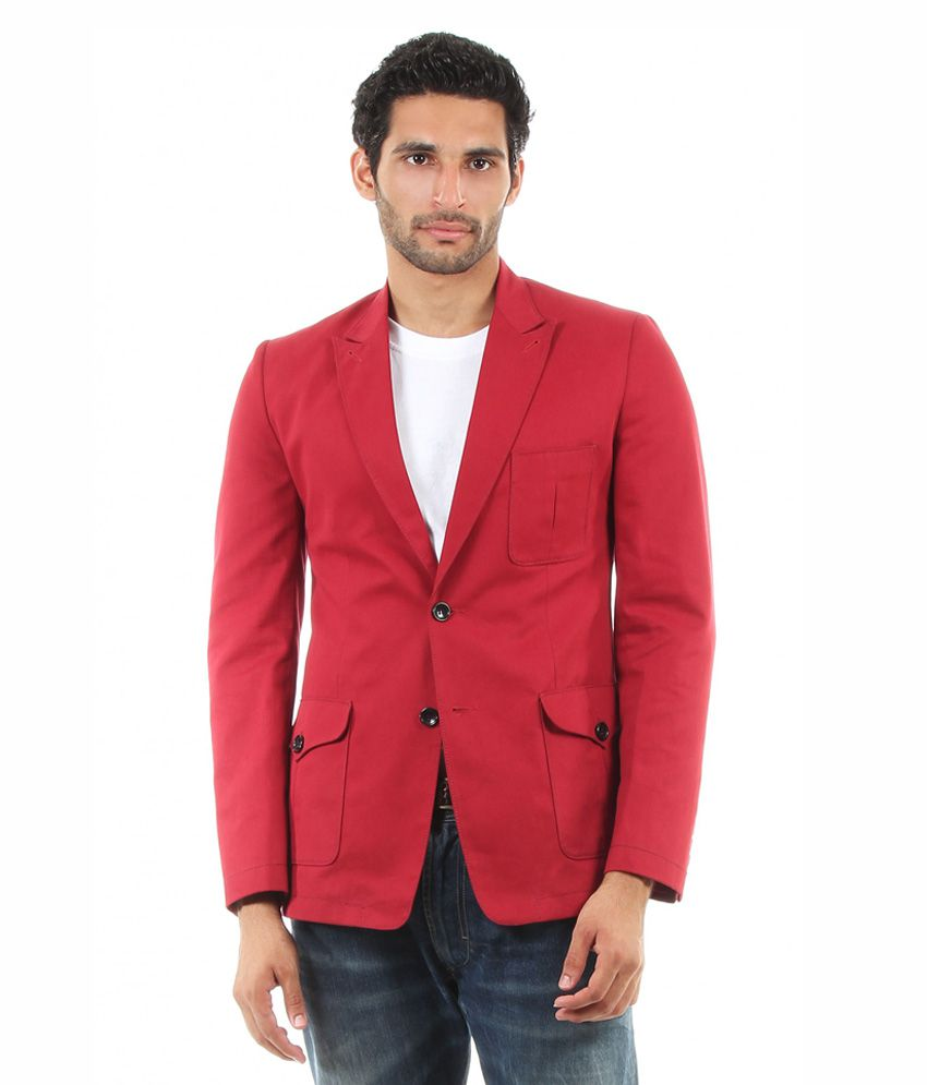 Viavero Red Full Cotton Blazers & Evening Jackets