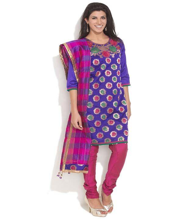 Anahi Blue Cotton Stitched Suit With Dupatta