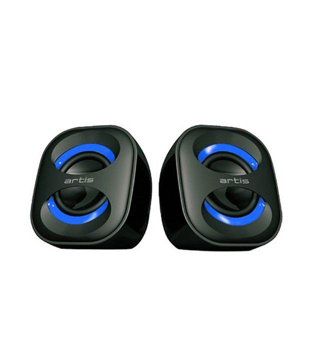 Artis USB Speakers 2 Computer SpeakersBlack & Blue