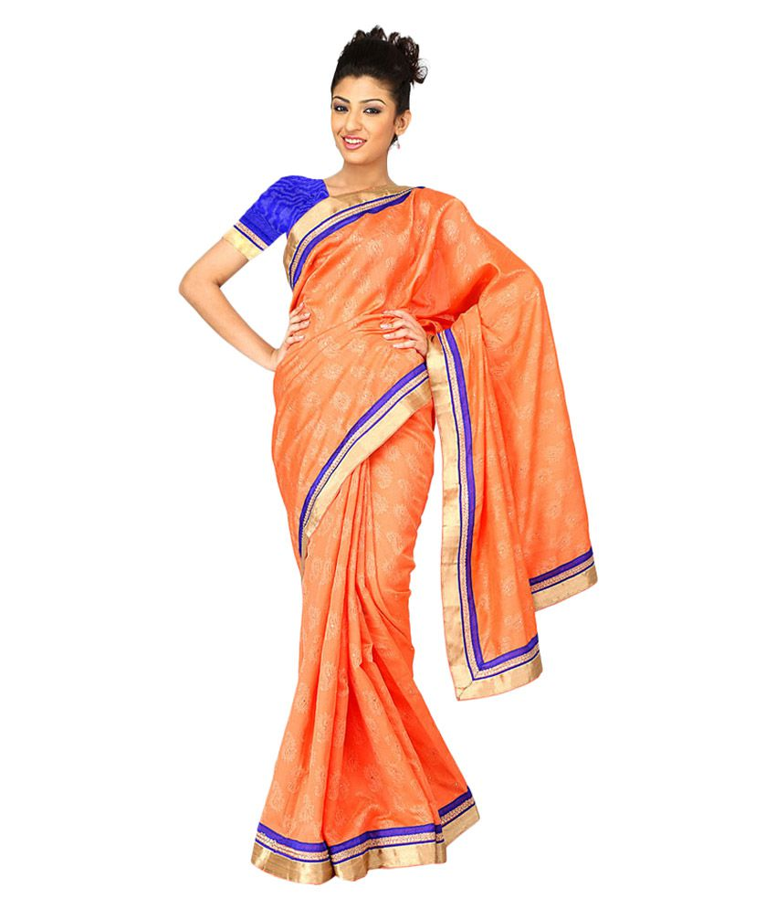 Patel Sarees Orange Embroidered Art Silk Saree