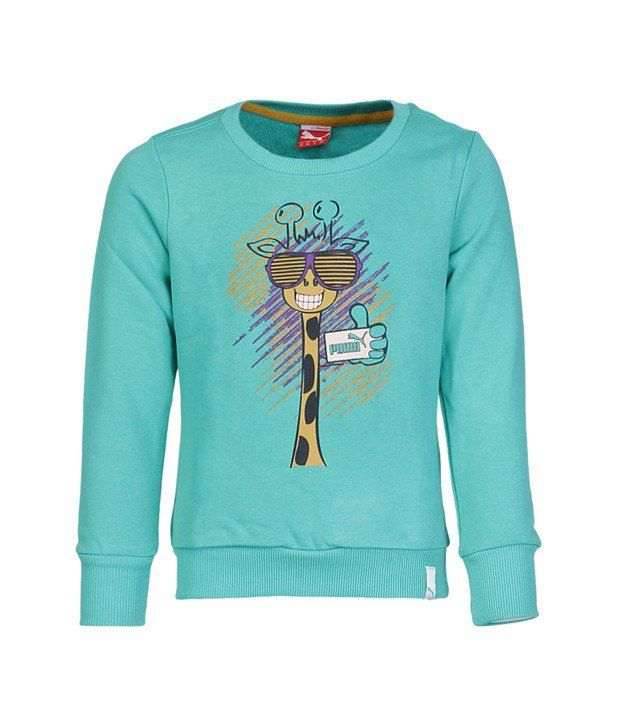 Puma Green Sweatshirt For Girls