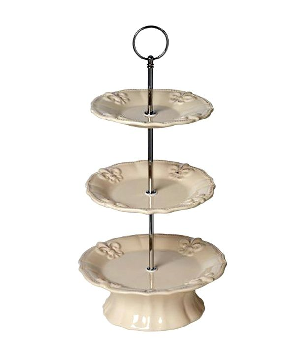 Universal Lighting And Decor Ivory Dolomite Cake Stand (Ivory Fleur De Lis  3 ...