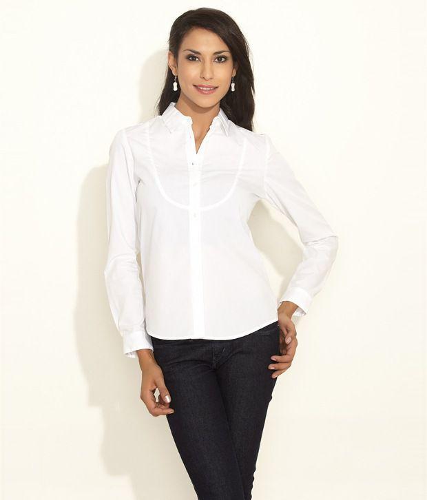 Buy Van Heusen Women White Cotton Shirt Online At Best Prices In