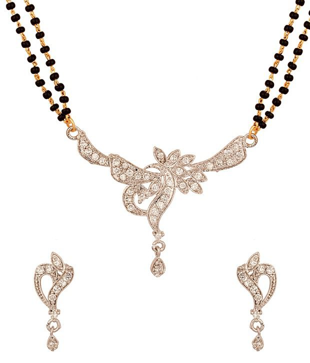 Voylla Mangalsutra Set with Gorgeous Platinum Look Featuring Leafy Design