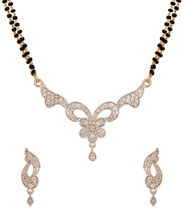 Voylla Mangalsutra Set with Gorgeous Platinum Look Featuring Daisy Flower Design