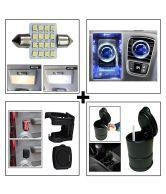 16 SMD Car Roof Light + Car Bvezel Perfume + Car Drink / Cup Holder + Car Ash Tray