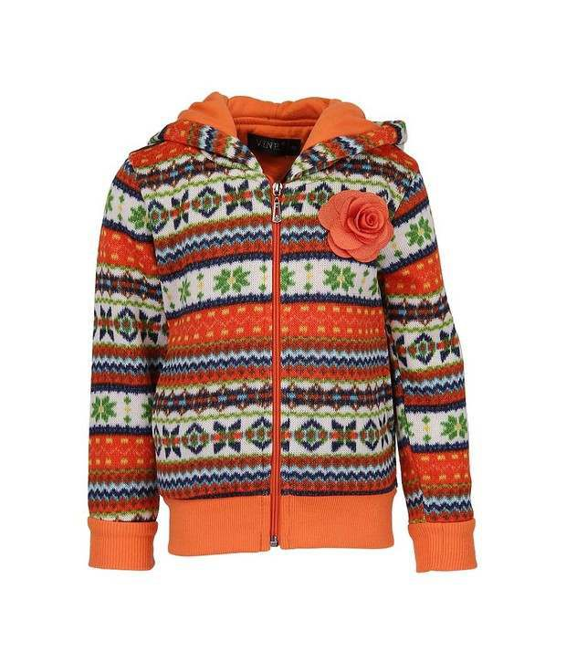 Vine Orange Sweatshirt For Girls