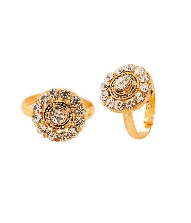 Voylla Gold Tone Toerings Featuring Disc Design With Crystal Border