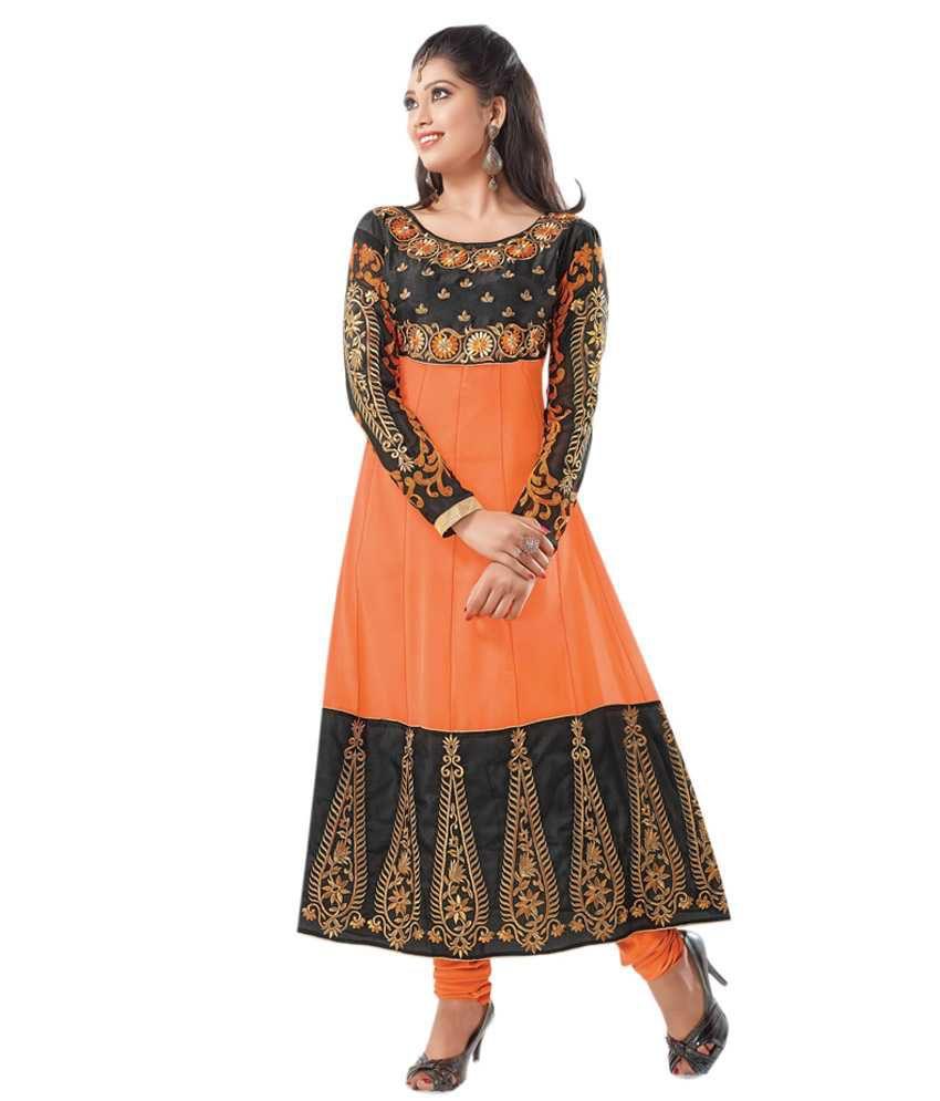 Aabha & Aalia Orange Embroidered Pure Georgette  Dress Material