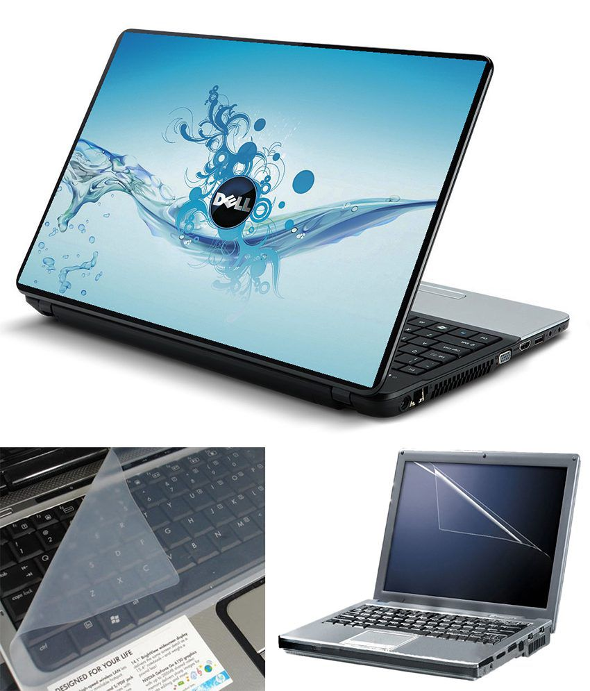 FineArts 3 in 1 Textured Laptop Skin Pack - Dell Water Printed With Screen  Guard and Keyboard Protector