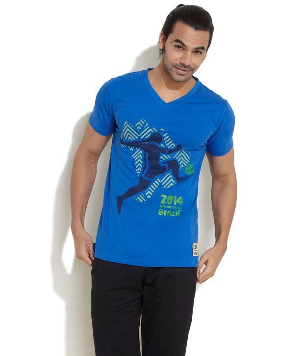 FIFA Blue Half Cotton Blend Round  T-Shirt