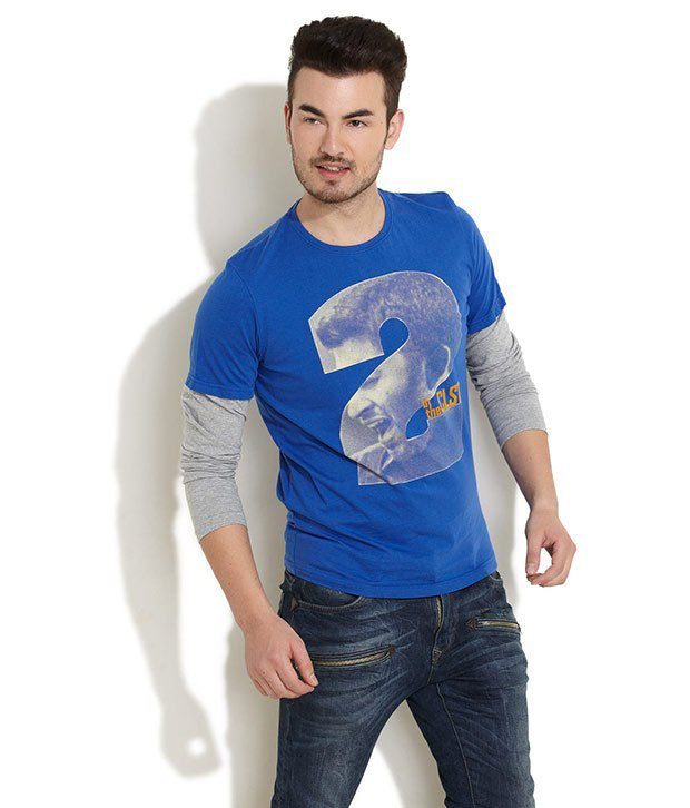In The Closet Blue Full Cotton Blend Round  T-Shirt
