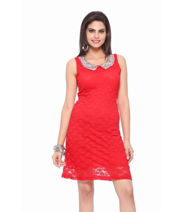 1814453eb Vovoka Red Casual Poly Cotton Short Dresses - Buy Vovoka Red Casual Poly  Cotton Short Dresses Online at Best Prices in India on Snapdeal