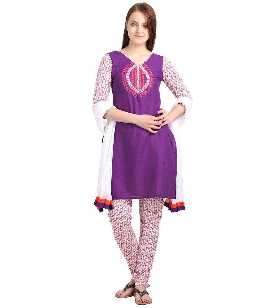eSTYLe Purple Printed Cotton Salwars Regular Fit  Salwar Suit