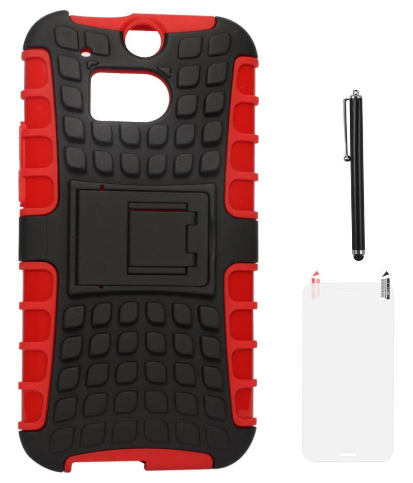 DMG Rubberized Hard Back Kickstand Case for HTC One M8 (Red-Black) + Matte Screen + Stylus