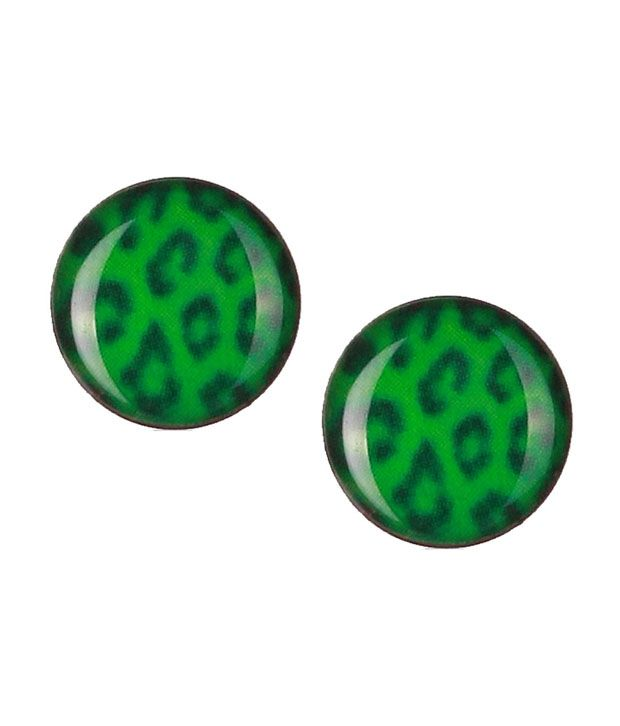 Green Enamel Leopard Pattern Stainless Steel Stud Earrings