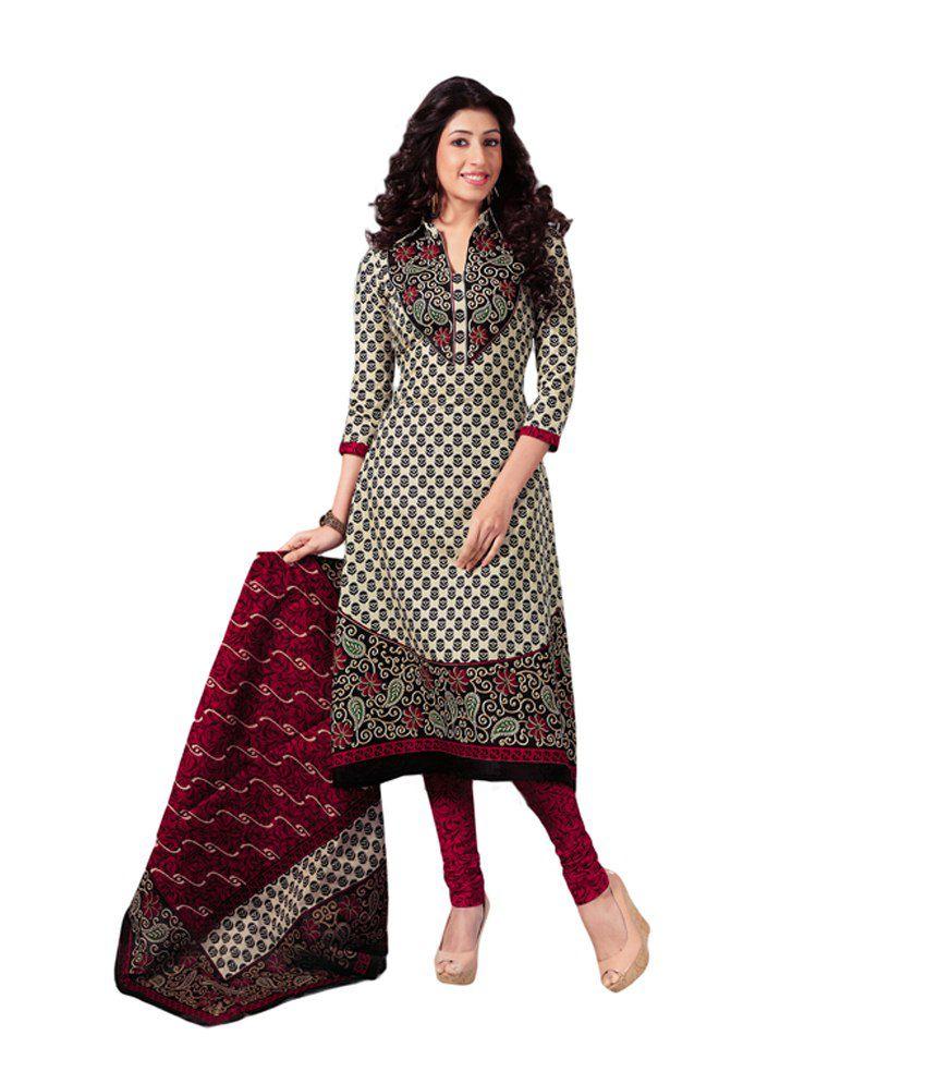 Salwar Studio Red Printed Cotton Dress Material