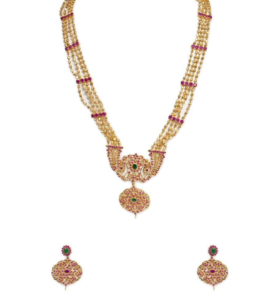 kundan lovely gold k earrings and necklace antique dgm set emerald ruby