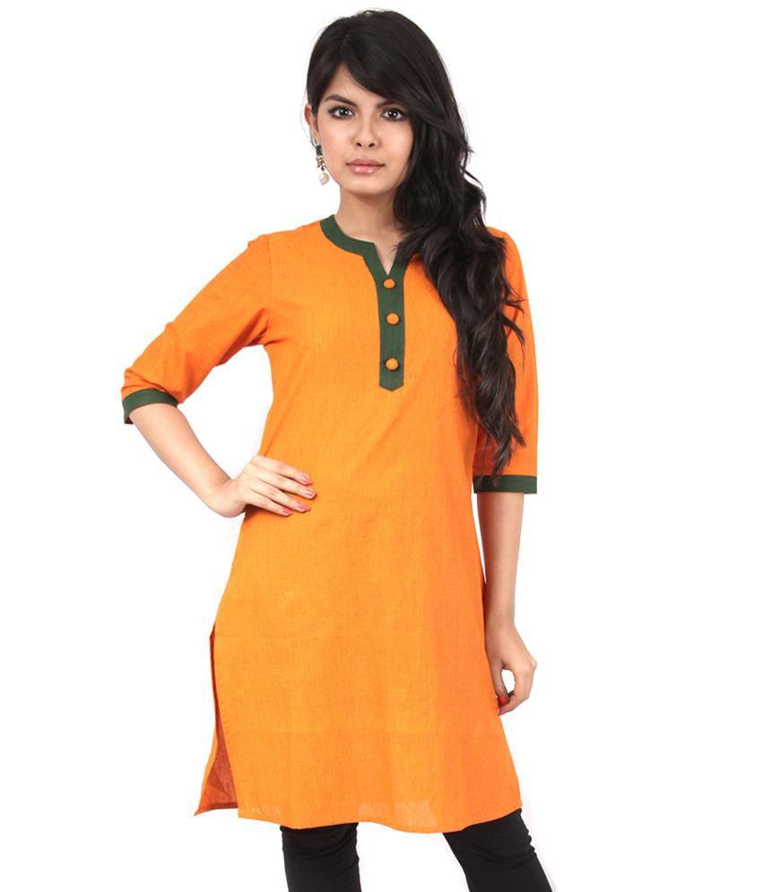 Aadya Orange Solids Cotton 3/4th Long Kurti
