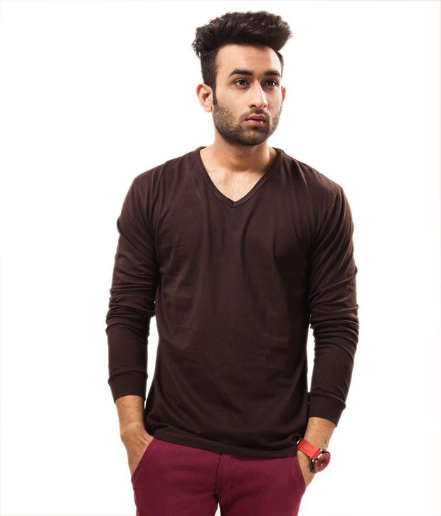 Unisopent Designs Brown Full   Cotton V-Neck  T-Shirt