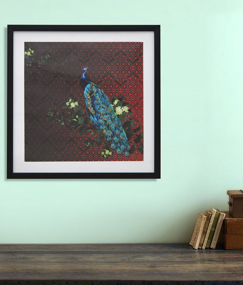 @Home Peacock Maroon and Blue Wood and Glass Animal Paintings (1 Pc)
