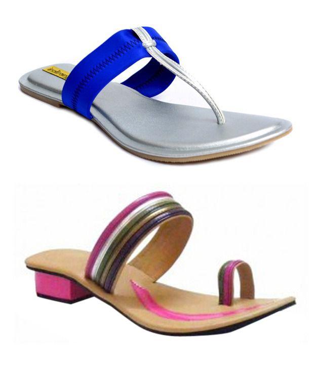 Indirang Adorable Flats and Heeled Slip-On Combo