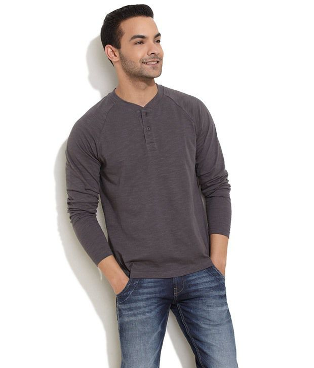 Rattrap Gray Full Cotton Henley T-Shirt
