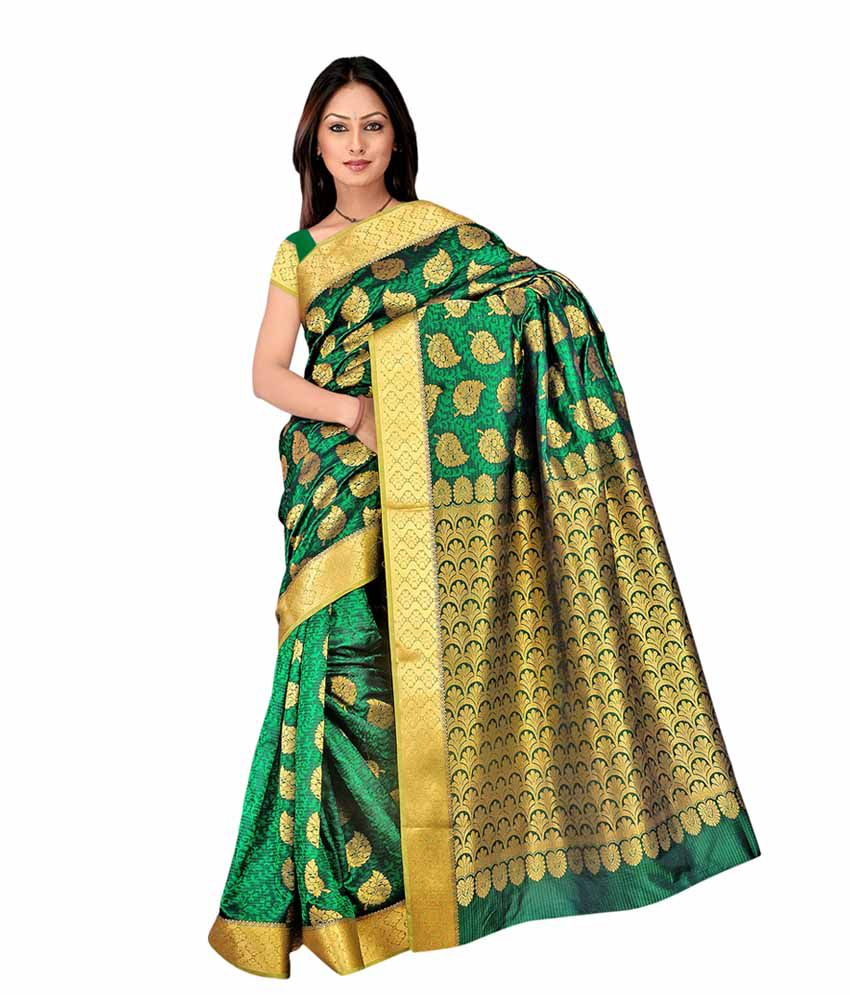 90747a5ed5c2a7 Varkala Silk Sarees Green and Yellow Kanchipuram Art Silk Saree - Buy  Varkala Silk Sarees Green and Yellow Kanchipuram Art Silk Saree Online at  Low Price ...