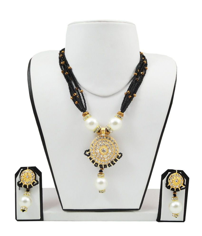 FashionValley Black Jeko Moti Necklace Set