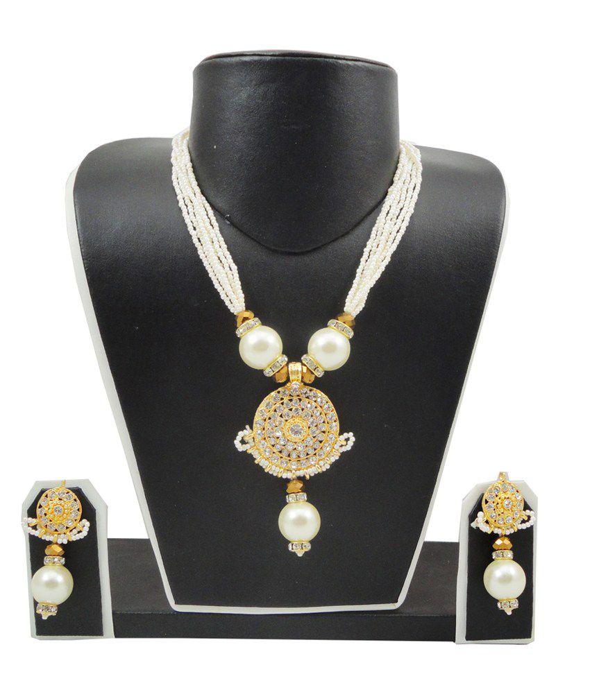FashionValley Off-White Jeko Moti Necklace Set