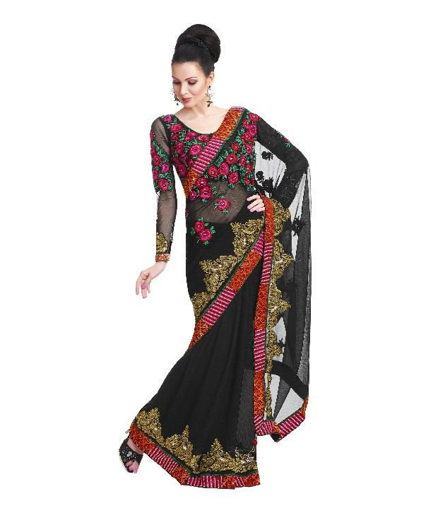 Fabdeal Black Faux Chiffon Saree