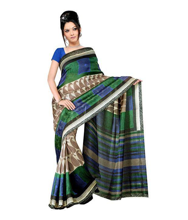 Fabdeal Green Art Silk Saree