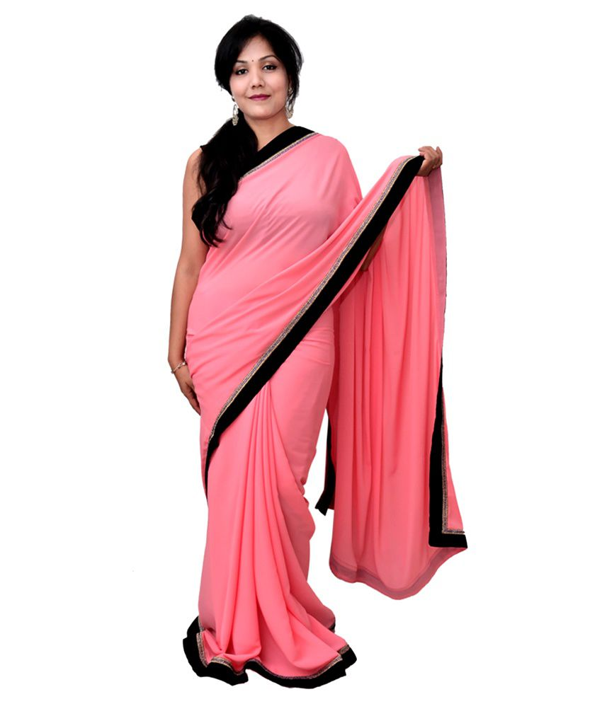 Get style at home neon pink saree with black border buy for Style at home