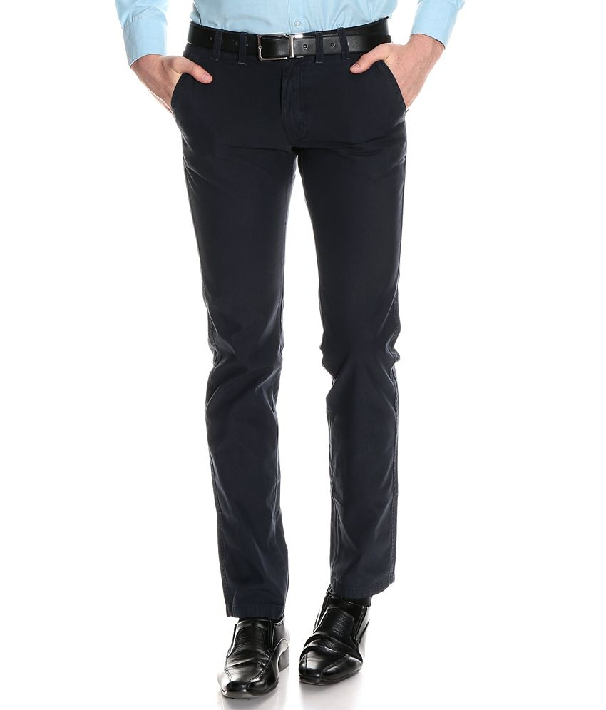 Indian Terrain Navy Slim Semi Formals Flat