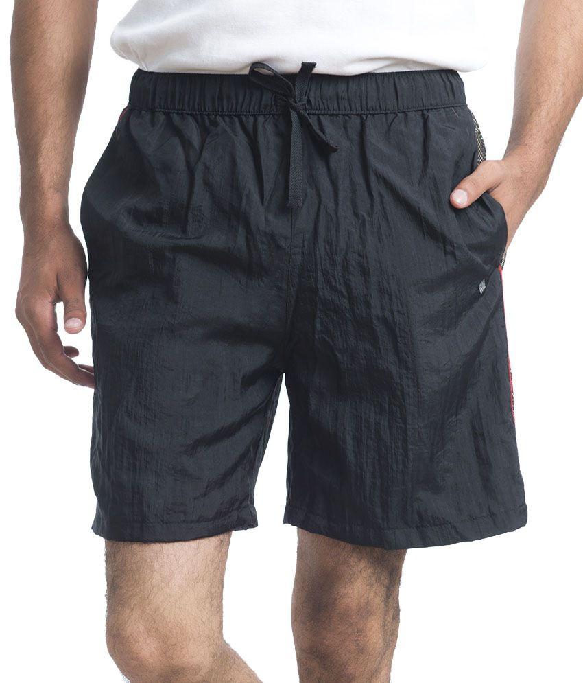 NU9 Black Polyester Solids Shorts