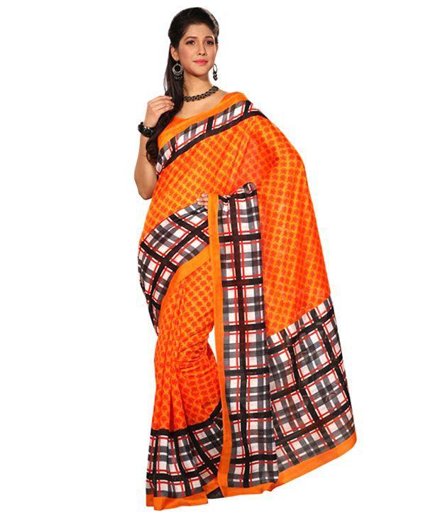 Aaditi Orange Printed Bhagalpuri Silk Saree