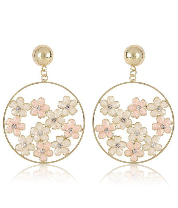Fashionable Charming Golden Round Small Enameled Flowers CZ Stone Earring
