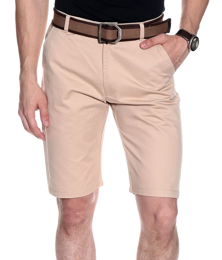 Franco Leone Beige Cotton Solids Shorts