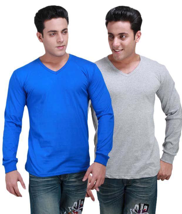 INKOVY Multi Full Cotton V-Neck T-Shirt